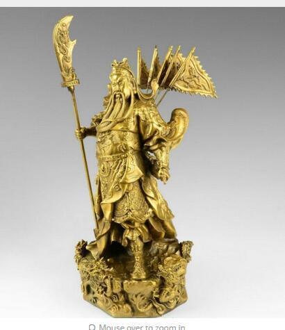 Dekoration Chinese Bronze Messing Nine Dragon Warrior Statue Abbildung 10