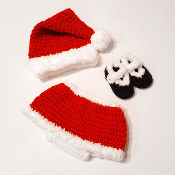 Adorable Santa Claus Newborn Outfits,Handmade Knit Crochet Baby Girl Christmas Costume,Hat,Dress and Shoes,Infant Photo Prop