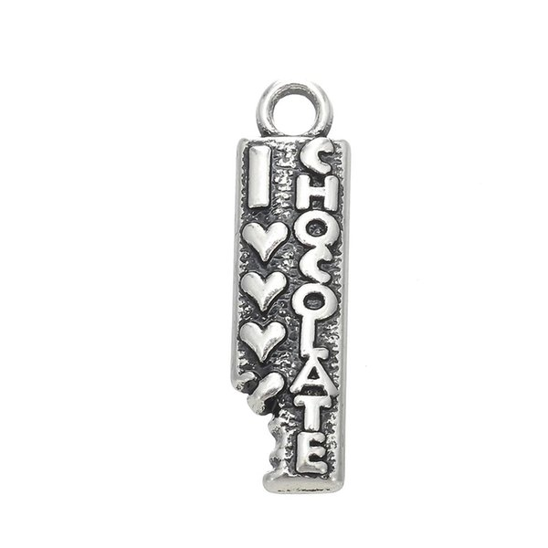Silver Plated Statement Love Chocolate Message Hot Sell products Geometric Charm Fashion Pendant For DIY Necklace&Bracelet