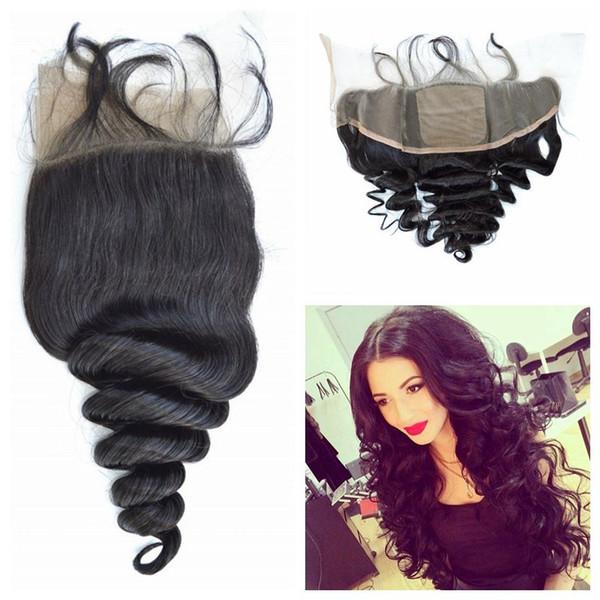 Free Middle Three Part Silk Frontal Closure With Baby Hair Natural Black 100% Human Hair Virgin Peruvian Loose Wave Closure LaurieJ Hair