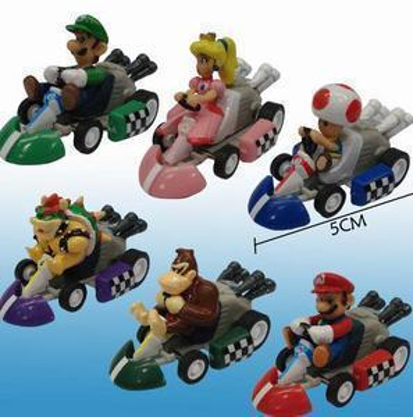 new Super Mario Bros Kart Pull Back Car figure Toy 6pcs set Mario Brother Pullback Cars Dolls E598