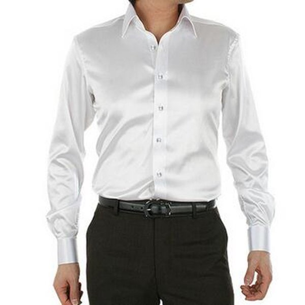 satin mens dress shirts white black fake silk mens shirts long sleeve fall