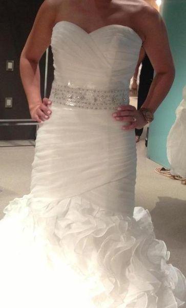 Real Made Usia Mermaid Sweetheart Dropped Waist Beaded Sash Pleated Ruffles Organza Bridal Gown COR-560 Wedding Dress Robe De Marriage