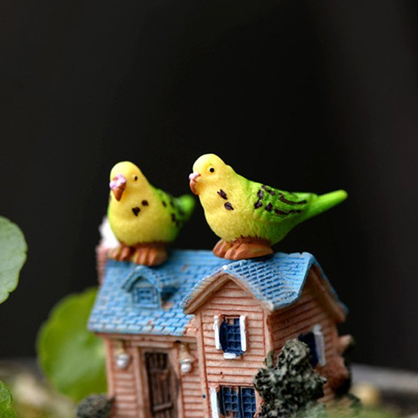10pcs Parrot Birds Figurines Resin Crafts Fairy Garden Miniatures Bonsai Tools terrarium Figurines Gnome Micro Landscape Home Accessories