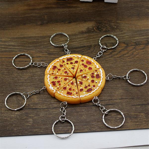 Neue Ankunfts-Skala Pizza Lebensmittel Keyring Charm Anhänger Harz Keychain für Geldbeutel-Beutel-Auto-Partei-Hochzeit Geschenkideen