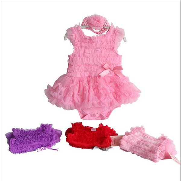 7 Styles Baby Girls TuTu Rompers Set(Flower Headband+Ruffle Romper) Infant Toddle One Piece Suits Baby Jumpsuits Kids Onesies Children Cloth