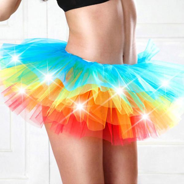 top popular Adult dance Performance Skirt Colorful LED Tutu Skirts Up Neon Fancy Rainbow Fancy Costume light Mini Tutu Skirt 2019