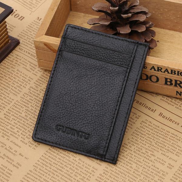 Titular de la tarjeta de cuero genuino ultrafino Negro Calidad marrón Suave identificación de la moda de negocios Titulares de tarjetas de crédito para hombres Envío gratis