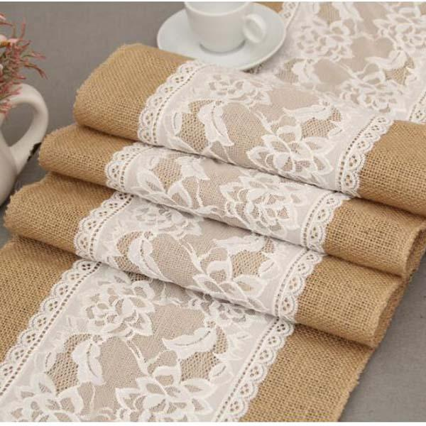 best selling 5PCS 30cm*275cm Vintage Burlap Lace Hessian Table Runner Natural Jute Pastoral style Wedding Home Party Decoration