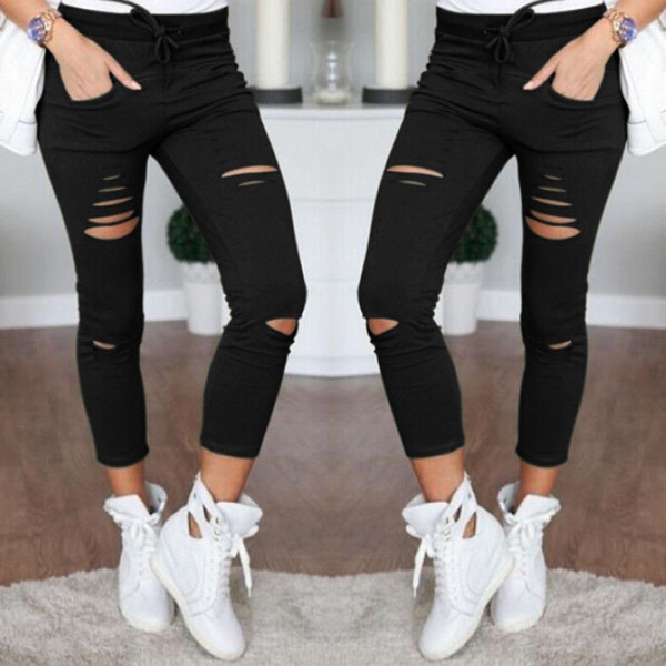 2017 6 colors Fashion Summer Pencil Pants Womens Ladies elastic Ripped Casual leisure Slim Cool Skinny Faded Fit Denim 622