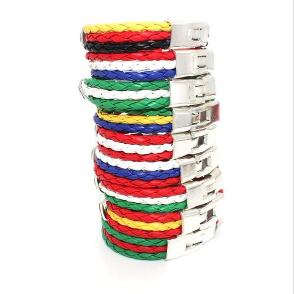 Good A++ Explosive handmade braided leather bracelet color flags banners fashion retro FB123 mix order 20 pieces a lot Charm Bracelets