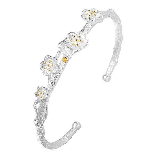 5pcs/lot Creative 925 Sterling Silver Jewelry Exquisite Cherry Blossom Flower Branch Allergy Opening Cuff Bangle Bracelet