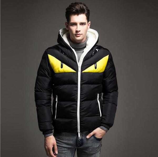 Wholesale- Winterjacke Herren Patchwork Down Jacket Men Fashion Male Warm Parkas Slim Furry Hoodie Coat Hombre Jackets For Autumn Winter