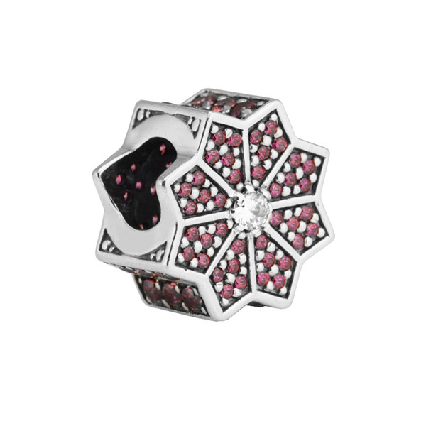 fit pandora bracelet Poinsettia Red & Clear CZ charm Maple leaves Beads for woman 925 sterling silver jewelry making Fashion beads