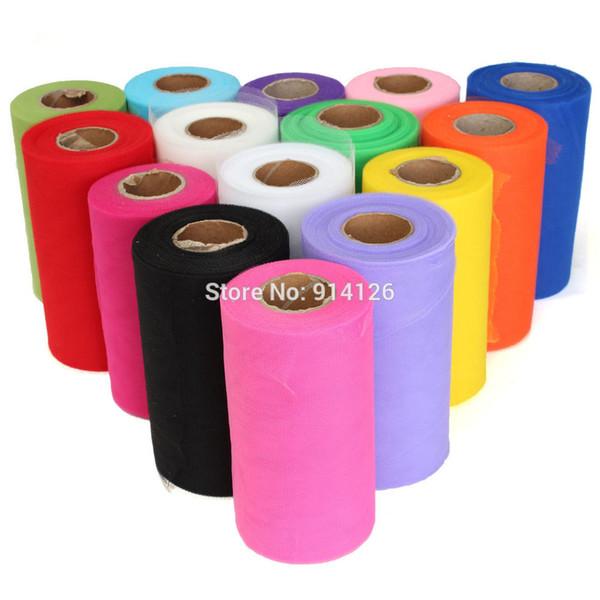 Vente en gros - 26 couleurs Choisissez Mariage C-Tulle Rouleau 6 pouces * 100yard Tulle Rouleau Bobine Tissu Tutu DIY Jupe Cadeau Craft Party Bow Tulle Rouleaux
