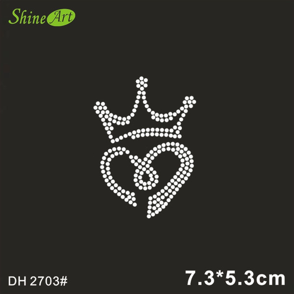 Free shipping Small crown and heart applique hot fix rhinestone transfer motifs iron on crystal transfers design shirt bag DH2703#
