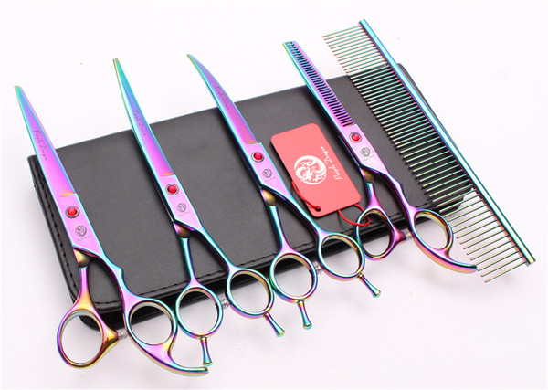 Z3002 5Pcs 7'' Japan 440C Professional Pets Grooming Hair Scissors Comb+Cutting+Thinning+UP &Down Curved Shears Cat Dog Fur Clipper Shears