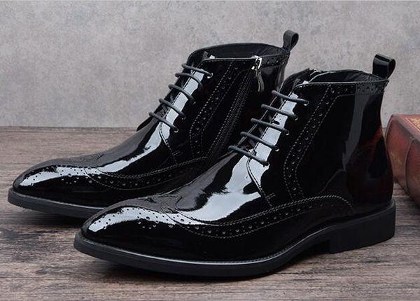 Von Schuhe Schwarz Männer Vintage Stiefel Kleid Oben Lackleder Schnüren Uk Spitz Herren Sich Großhandel Business Männlich Mode rCBdxWQeEo