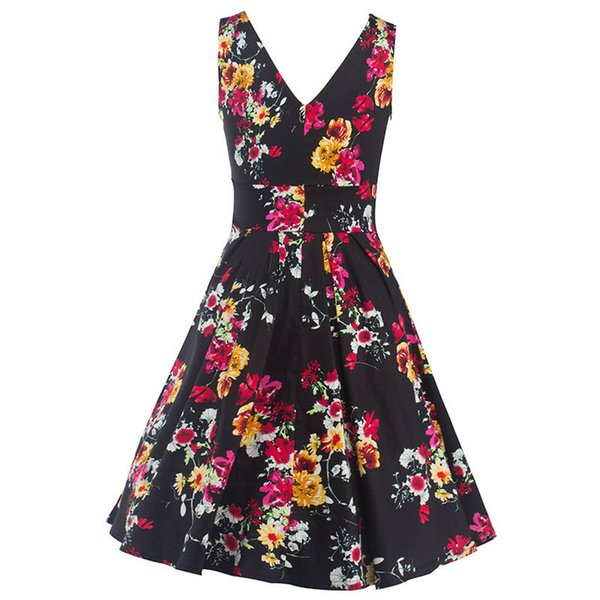 Women's Vintage 1950s Hepburn Style Double V-Neck Backless Elegant Floral Prints Garden Tea Party Swing Dress Ball Gown Cocktail Gowns
