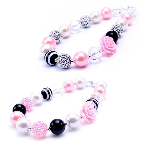MHS.SUN Newest Design Pink+Black Flower Necklace Birthday Party Gift For Toddlers Girls Beaded Bubblegum Baby Kids Chunky Necklace Jewelry