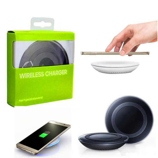 best selling Universal Qi Wireless Charger Pad Power Fast Charging for Samsung Galaxy S6 S6 Edge S7 S7 Edge iPhone 8 X 7 with Retail Box can with logo