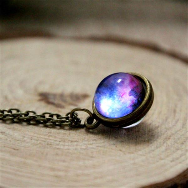 12pcs / lot collier Nebula planète bijoux bleu violet jaune rose galaxie bijoux collier système solaire collier dôme en verre