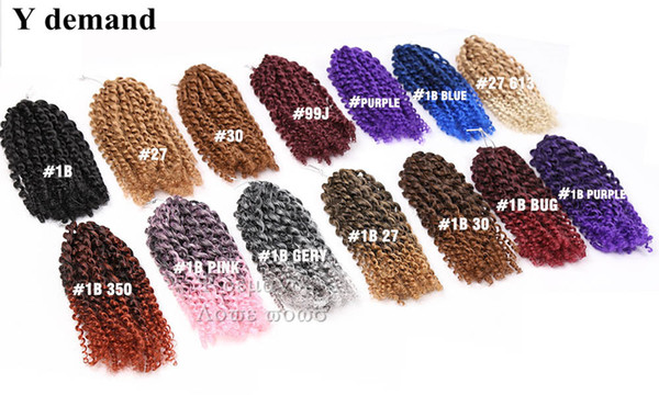 3pcs 8 '' Malibobo Ombre Twist Crochet Tresses Cheveux Courts Synthétique Kanekalon marley Afro Kinky Tresse Extension de Cheveux Y demande