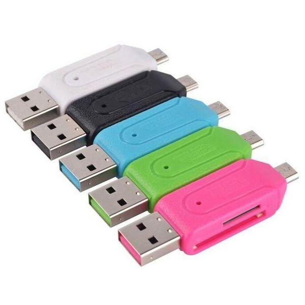 Adaptador OTG 2 en 1 USB macho a micro USB Dual Slot con lector de tarjetas de memoria TF / SD 32 GB 4 8 16 GB para tableta Smartphone Android Samsung Google