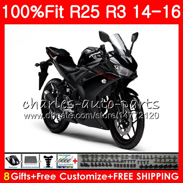 Injection Cowling For YAMAHA Flat black YZF-R3 YZF-R25 YZF R 3 R 3 YZFR3 Body 83NO35 YZFR25 R25 14 15 16 R 25 R3 2014 2015 2016 Fairing Kit