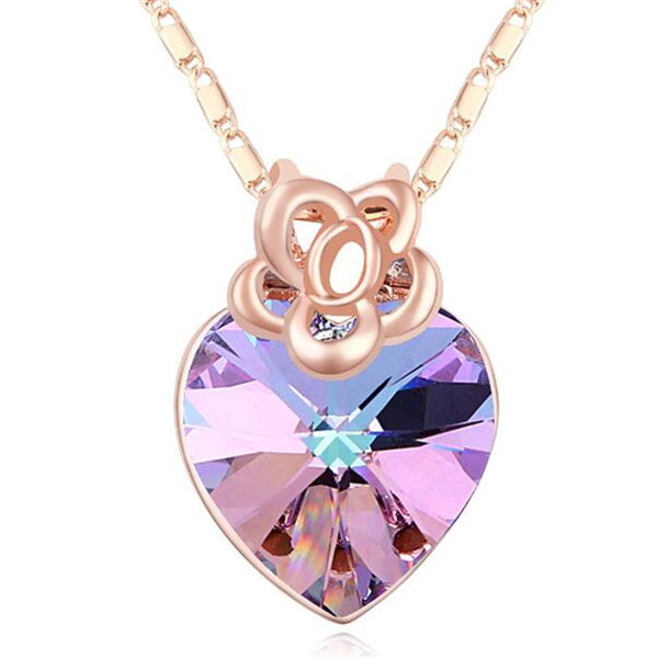 Heart Necklaces Pendants Crystal from Swarovski Elements Exquisite Short Necklace For Women Korea Trendy Jewelry Rose Gold Plated 16660