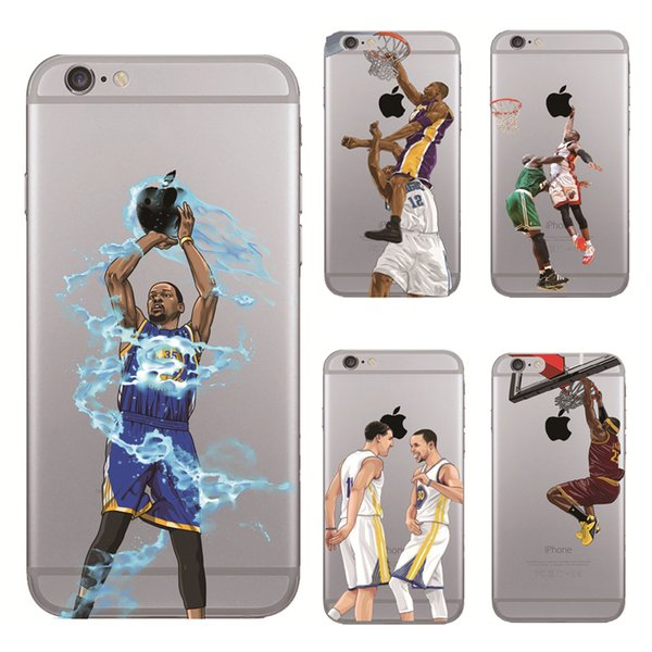 Curry Kobe James basketball phone case for iphone 11 Pro X XR XS Max 7 6 6s plus 5s S8 S9 S10 note 9 10 soft painted defender Shell GSZ242
