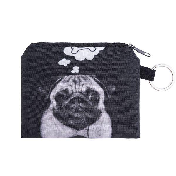 Wholesale- dog bone Coin Purses Cute Girl Mini Bag Key Ring Case Zipper Wallet Lovely black dog 3d print Pouch Change Purse wholesaleCP4091