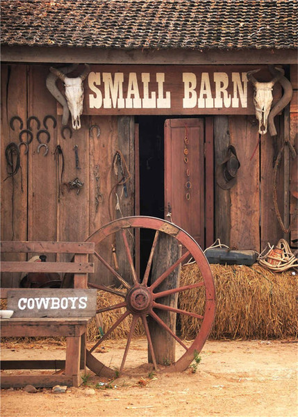 5x7ft Vintage Small Barn Rustic Backdrop Photography Wooden Door Mow Western Cowboys Children Kids Outdoor Photo Background for Studio