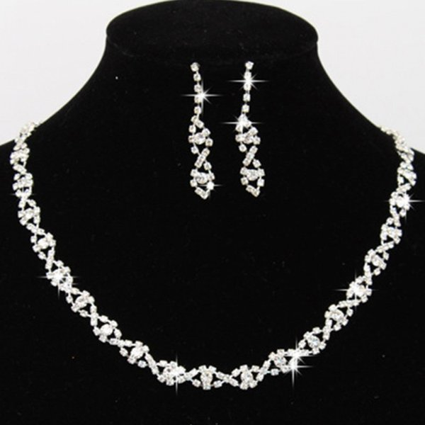babyonline / 2019 Bling Crystal Bridal Jewelry Set Silver Plated Necklace Diamond Earrings Wedding Jewelry Sets for Bride Bridesmaid Accessories CPA796