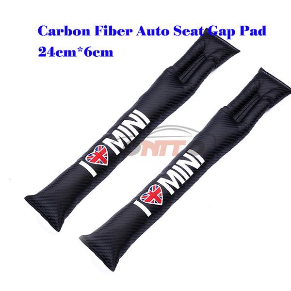 Fashion 2Pcs Carbon Fiber Seat Gaps Plug for car emblem Crevice Inserts Protective Padding for MINI All Series Auto Accessories
