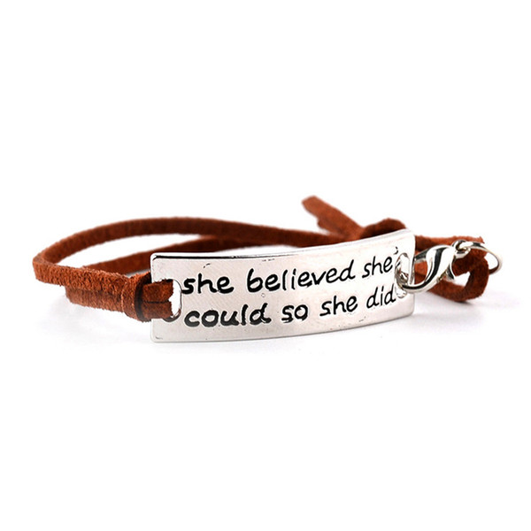 She Believed She Could So She Did bracelets Inspirational word charms braided Leather bangle For women&men Jewelry amazing grace Gifts