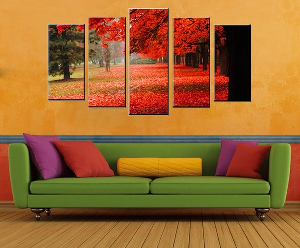 5 Panel Wall Art Panel Digital Printing on Canvas Home Decor Painting Canvas Red Tree Avenue Wall Pictures for the Home