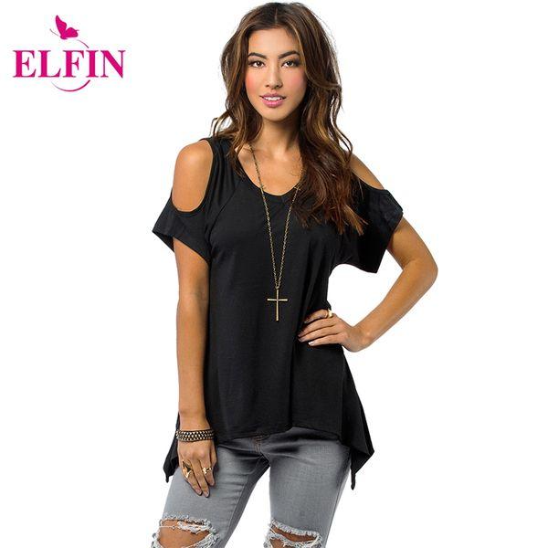 Wholesale- Shoulder Top Women Open Cold-Shoulder V-Neck Short Sleeve Irregular Hem Cut Out Tunic Top Off Shoulder T-shirt Top Tees LJ1270R