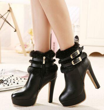 Wholesale New Arrival Hot Sale Specials Super Influx Belt Buckle Warm Winter Knight Plush Black Sweety Noble Heels Ankle Boots EU34-39