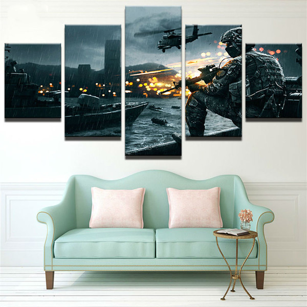 New Soldier Battlefield Wall Art Oil Painting Unframed 5 Pieces Canvas Print Spray Paintings For Living Room Home decor