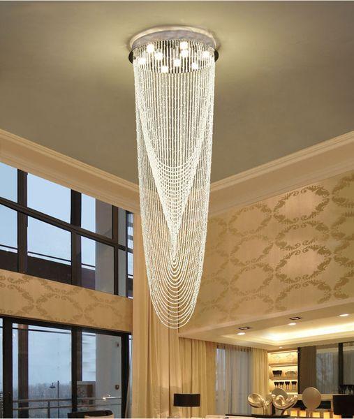 Acheter Lustre En Cristal Moderne Lustre Escalier Led Plafond Pendentif Luminaires Pour Hotels Escaliers Villas Decoration De 502 52 Du Zidoneled