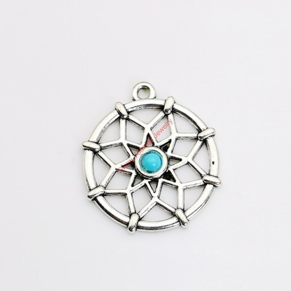 Wholesale-6pcs Tibetan Silver Plated Dreamcatcher Charms Pendants for Jewelry Making DIY Handmade Craft 31x27mm