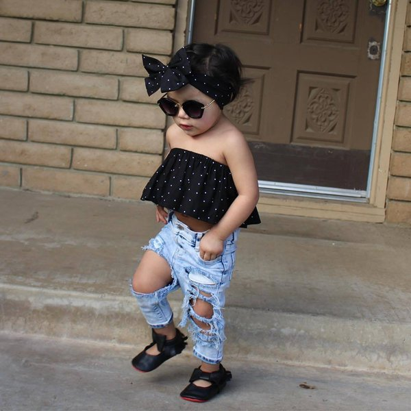 european style children clothing sets baby girl boat neck polka dot tops with matching broken hole jeans pants 2pcs sets