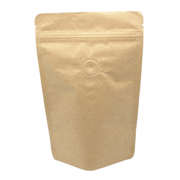 Retail 20Pcs/Lot 15*23cm Stand Up Zip Lock Packaging Bag Kraft Paper Pure Aluminum Foil Food Bags With Air Evacuation Valve