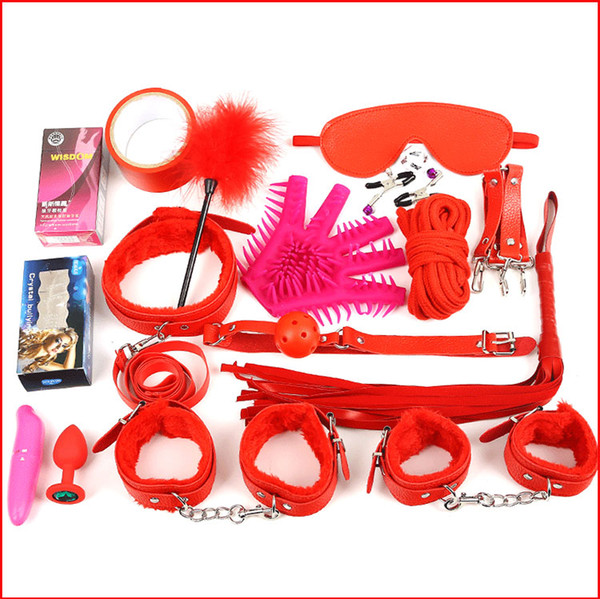New Sexy 17 Pcs/Set Kit Fetish Sex Bondage Sex Toys for Couples, 4 colors ,Nipple Clamps Foot Handcuff Ball Gag Whip Collar Eye mask