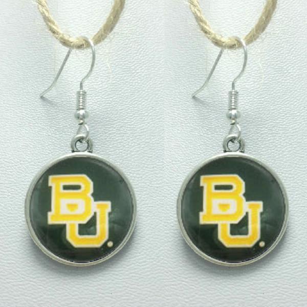 10Pairs Sports Team NCAA Baylor Charms orecchini in vetro 3Style Gioielli Stud / Orecchini pendenti