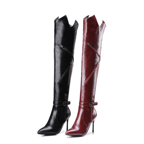 2017 new Fashion Leather Shoes Women Super High Heels Sollid Thigh High Boots Zipper Pointed Toe Over The Knee Boots Burgundy black