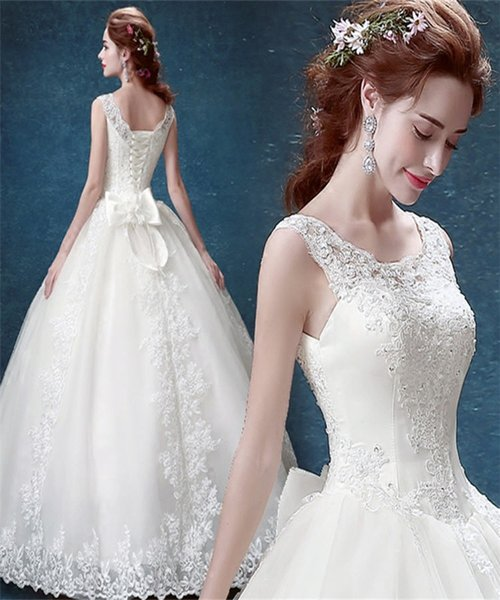 Simple White Ball Gown Wedding Dresses 2017 Cheap Bridal Wear China Floor-Length Sweetheart Wedding Gowns Affordable Lace Vestidos de Novia