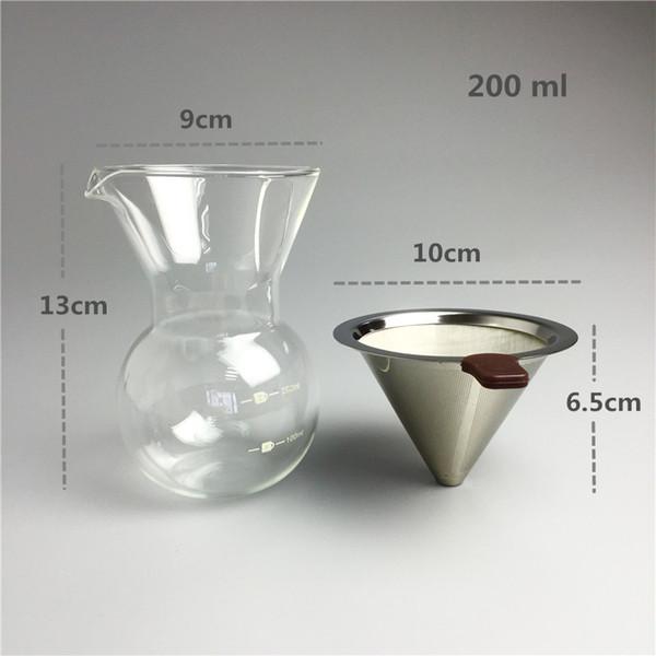 200 ML Mini Chaleira De Vidro Conjuntos de Filtro de Café de Aço Inoxidável Reutilizável Gotejamento Brewing Pot Café e Chá Ferramentas Bule de Café