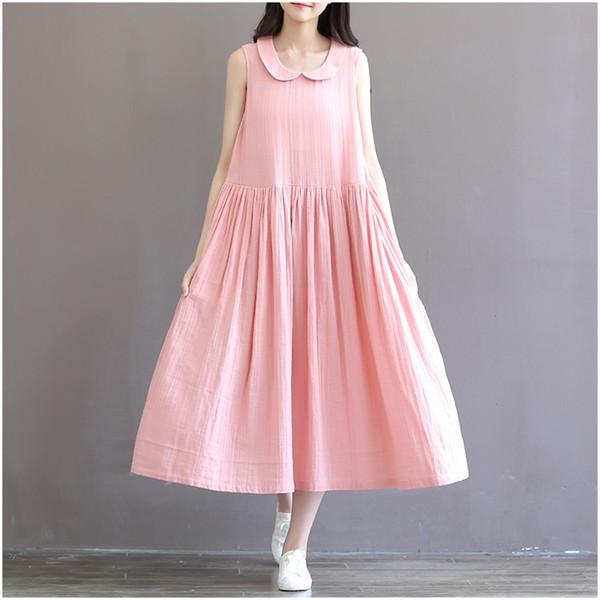 2019 Wholesale 2016 Summer Preppy Style Peter Pan Collar Dress,Women Casual  Cotton Linen Dress, Plus Size Dress Vestido S 4XL 5XL 6XL From Cacy, ...